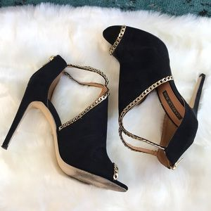 BLACK SUEDE AND GOLD CHAIN BOOTIES